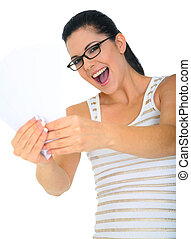 Excited Woman Holding Blank Cards