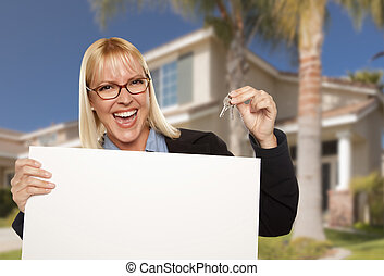 Excited Woman Holding House Keys and Blank Real Estate Sign