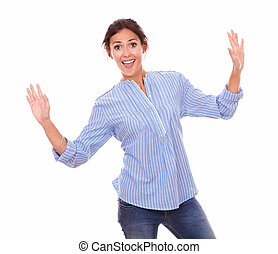 Excited woman holding up her hands
