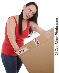 excited woman opening a parcel