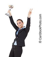 excited woman winning a trophy