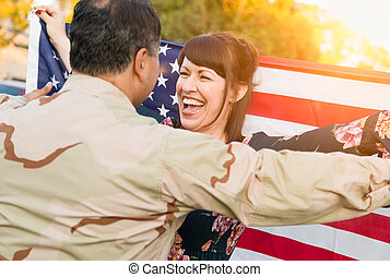 Excited Woman With American Flag Runs to Male Military Soldier Returning Home