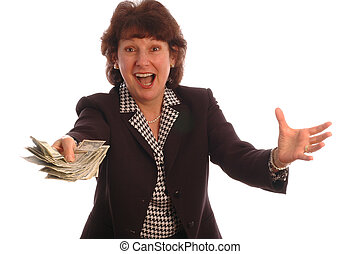 excited woman with cash 414