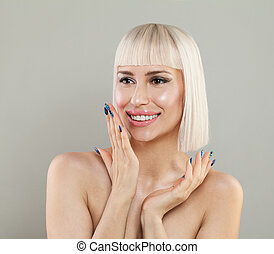 Excited Woman with Healthy Skin and Blonde Hairstyle on Gray Background