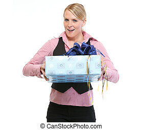 Excited woman with present box