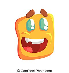 Excited Yellow Emoji Cartoon Square Funny Emotional Face Vector Colorful Isolated Sticker