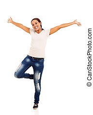 excited young african woman