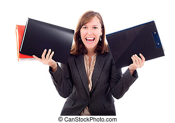 Excited young business woman holding files