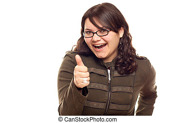 Excited Young Caucasian Woman With Thumbs Up on White