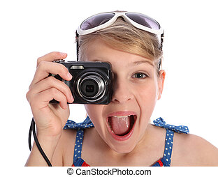 Excited young photographer girl taking pictures - Excited ...