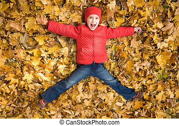 Excitement - Above view of excited child shouting from ...