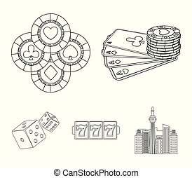 Excitement, casino, game and other web icon in outline style. Cheating, entertainment, recreation, icons in set collection.