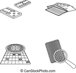 Excitement, casino, game and other web icon in outline style Magnifier, cheating, entertainment, icons in set collection.