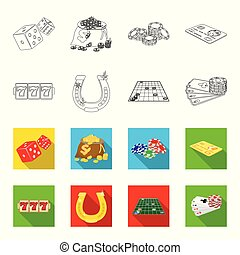 Excitement, recreation, hobby and other web icon in outline, flet style., Casino, entertainment, institution icons in set collection.