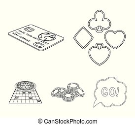 Excitement, recreation, hobby and other web icon in outline style., Casino, entertainment, institution icons in set collection.