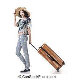 woman drag a luggage - Exciting Asian woman drag a luggage,...