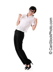 Exciting business woman raising hand, full length portrait...