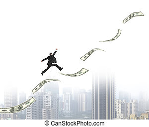 Exciting businessman running on growing money trend with city view background