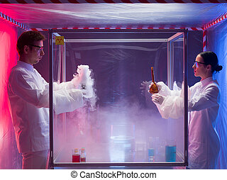exciting chemistry in sterile chamber