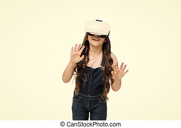 Exciting interaction. Future of VR is here. Little girl wearing virtual reality headset. Future of entertainment and education. Future of entertainment. Future concept. Augmented reality technology