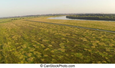 Exciting landscape of fields and rivers. Top view