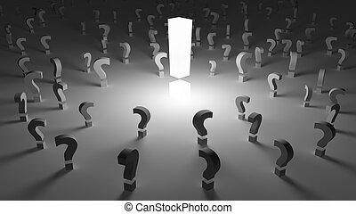 exclamação, cercado, perguntas