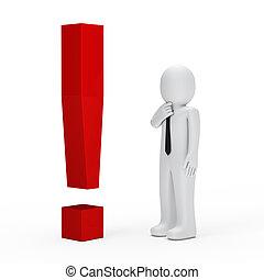 exclamação, homem negócios, vermelho, marca