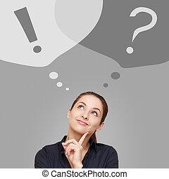 exclamação, negócio mulher, pensando, pergunta, cima, olhar, sinais