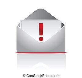 exclamação, remeta envelope, ícone