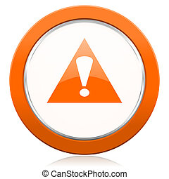 exclamação, símbolo, sinal, aviso, laranja, alerta, ícone