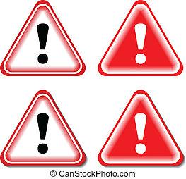 exclamação, sinal perigo, isolado, ilustração, vetorial, signs., vermelho