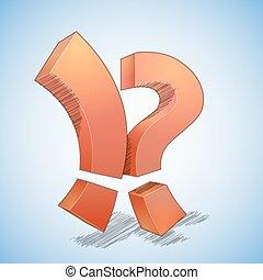 exclamação, vs, pergunta, ponto, marca