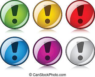 exclamación, botones, vector, marca