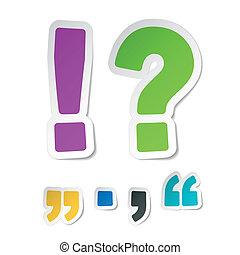exclamación, marca, pegatinas, pregunta