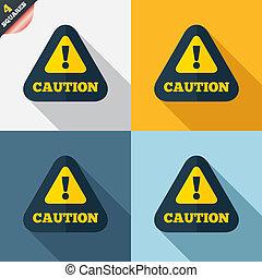 exclamación, mark., atención, señal, precaución, icon.