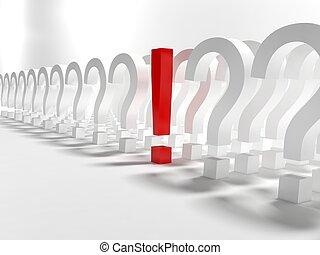 exclamación, preguntas, señal
