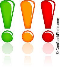 exclamación, vidrio, vector, puntos
