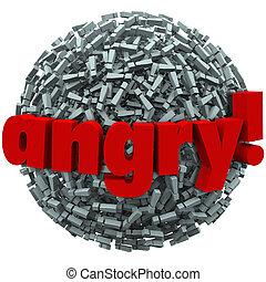 exclamation, émotion, mot, fureur, fâché, points, fou