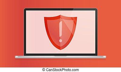 exclamation, 10, vecteur, informatique, illustration., display., ordinateur portable, moderne, système, isolé, eps, fenêtre, avertissement, virus, white., erreur, opération, marque, concept.