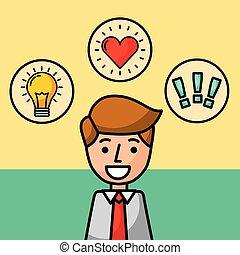 exclamation, amour, caractère, idée, portrait, homme affaires, heureux