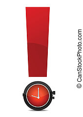 exclamation and watch illustration design over white ...