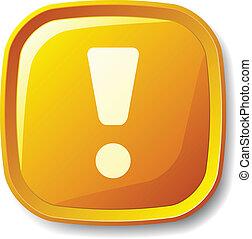 exclamation, bouton, vecteur, marque jaune