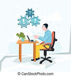 exclamation, business, ordinateur portable, travail, point interrogation, problème ordinateur, homme