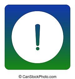 exclamation, carrée, vert-bleu, arrière-plan., isolated., coins, signe., marque, gradient, vector., arrondi, blanc, icône