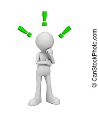 exclamation, concept, point, illustration, 3d, homme