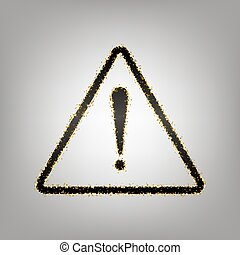 Exclamation danger sign. Flat style. Vector. Blackish icon...