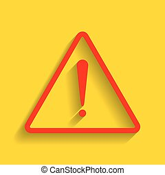 Exclamation danger sign. Flat style. Vector. Red icon with soft shadow on golden background.