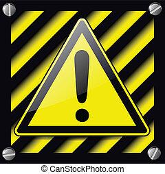 Exclamation danger sign over warning stripes background