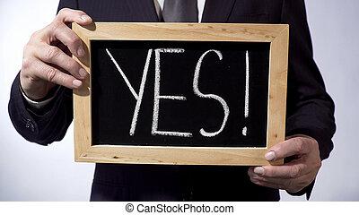exclamation, empressement, concept, business, tableau noir, marque, écrit, oui