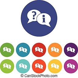 exclamation, ensemble, icônes, question, parole, bulles